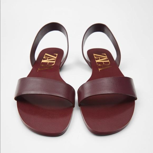 Zara Shoes - Zara TRF burgundy red flat leather sandals